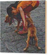 Girl With Two Dogs Wood Print