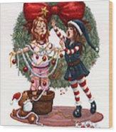 Girls Decorating For Christmas Wood Print
