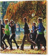 Girls Jogging On An Autumn Day Wood Print