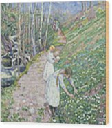 Girls Picking Wood Anemone Wood Print