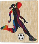 Girls Soccer Wood Print