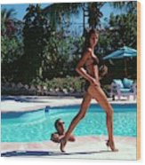 Gisele Bundchen Walking Poolside Wood Print