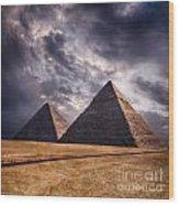 Giza Pyramids In Cairo Egypt Wood Print