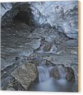 Glacial Creek Flowing From Blue Ice Wood Print