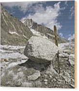 Glacial Moraine Boulder, French Alps Wood Print