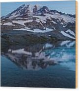 Glacial Rainier Morning Reflection Wood Print