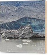 Glacier Tongue Calfing Icebergs Into Glacial Lake Wood Print