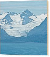 Glaciers In Kenai Range Over Kachemak Bay In Homer-ak- Wood Print