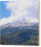 Glaciers In The Clouds. Mt. Rainier National Park Wood Print