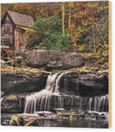 Glade Creek Grist Mill 1a - Autumn Late Afternoon Babcock State Park Wv Wood Print