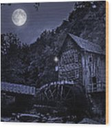 Glade Creek Grist Mill At Night Wood Print