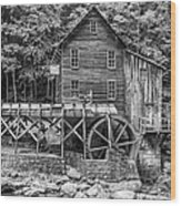 Glade Creek Grist Mill Bw Wood Print