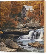 Glade Creek Mill In Autumn Wood Print by Tom Mc Nemar