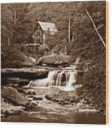 Glade Creek Mill In Sepia Wood Print