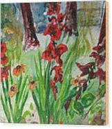 Gladioli-2 Wood Print by Vladimir Kezerashvili