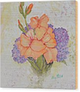 Gladioli And Hydrangea Wood Print