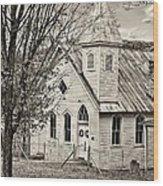 Glady Presbyterian Sepia Wood Print