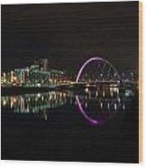 Glasgow Clyde Arc Bridge At Night Wood Print