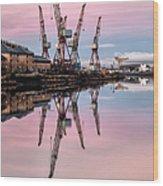 Glasgow Cranes With Belt Of Venus Wood Print