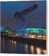 Glasgow - River Clyde At Night Wood Print