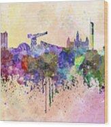 Glasgow Skyline In Watercolor Background Wood Print