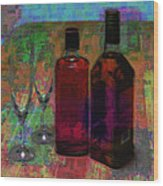 Glass And Liquor Wood Print