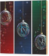 Glass Bauble Banners Wood Print
