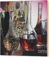 Glass Decanters And Glasses Wood Print
