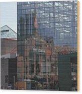 Glass Facade Reflection - Aquarium Baltimore Wood Print