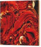 Glass Macro Abstract Crimson Swirls Wood Print