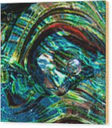 Glass Macro - Blue Green Swirls Wood Print