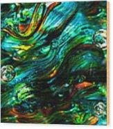 Glass Macro - Greens And Blues Wood Print