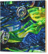 Glass Macro - Seahawks Blue And Green -13e4 Wood Print by David Patterson