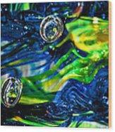 Glass Macro - Seahawks Blue And Green -13e4 Wood Print