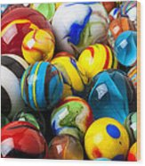 Glass Marbles Wood Print by Garry Gay