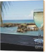 Glass Of Fresh Wine By Tropical Beach Wood Print