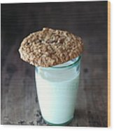 Glass Of Milk Wood Print
