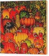 Glass Pumpkins Wood Print