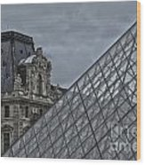 Glass Pyramid And Louvre Museum Paris Wood Print