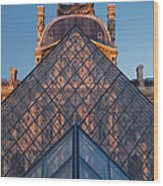 Glass Pyramid At Musee Du Louvre Wood Print