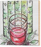 Glass Rosy Wine Wood Print