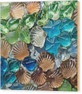 Glass Seashell Wood Print