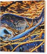 Glass Whale On Fishing Nets Wood Print