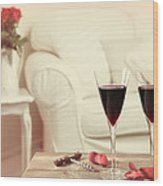 Glasses Of Red Wine Wood Print