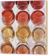 Glasses Of Rose Wine Wood Print
