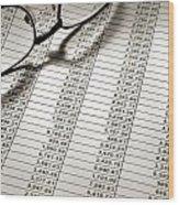 Glasses On Spreadsheet Wood Print