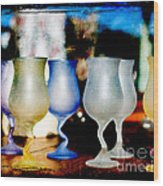 Glassware Wood Print by Bobbi Feasel