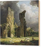 Glastonbury Abbey With The Tor Wood Print