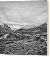 Glen Etive Road And River Wood Print by John Farnan