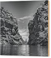 Glen Helen Gorge-outback Central Australia Black And White Wood Print